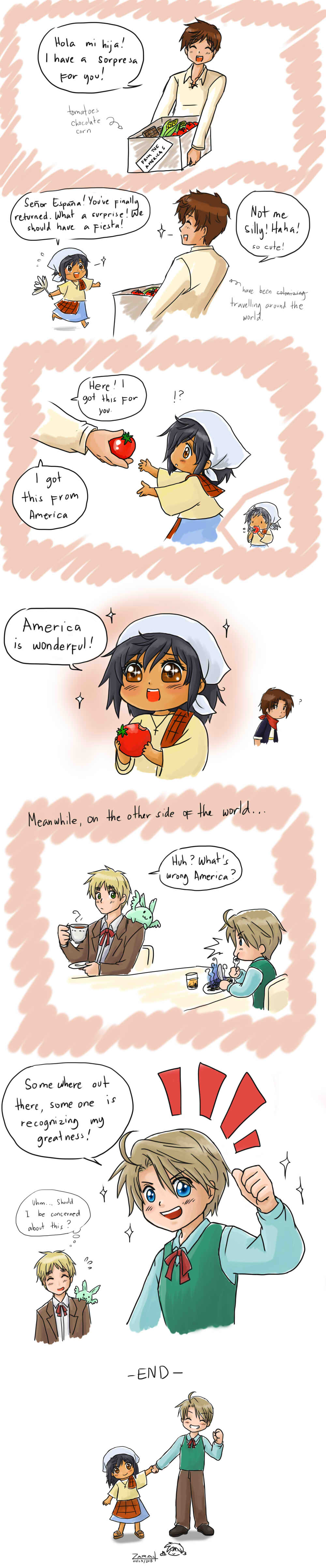 Gifts from America by randomsketchez.deviantart.com on @deviantART Piri, Spain, Mexico, England, and Colonial!America  - Cute!