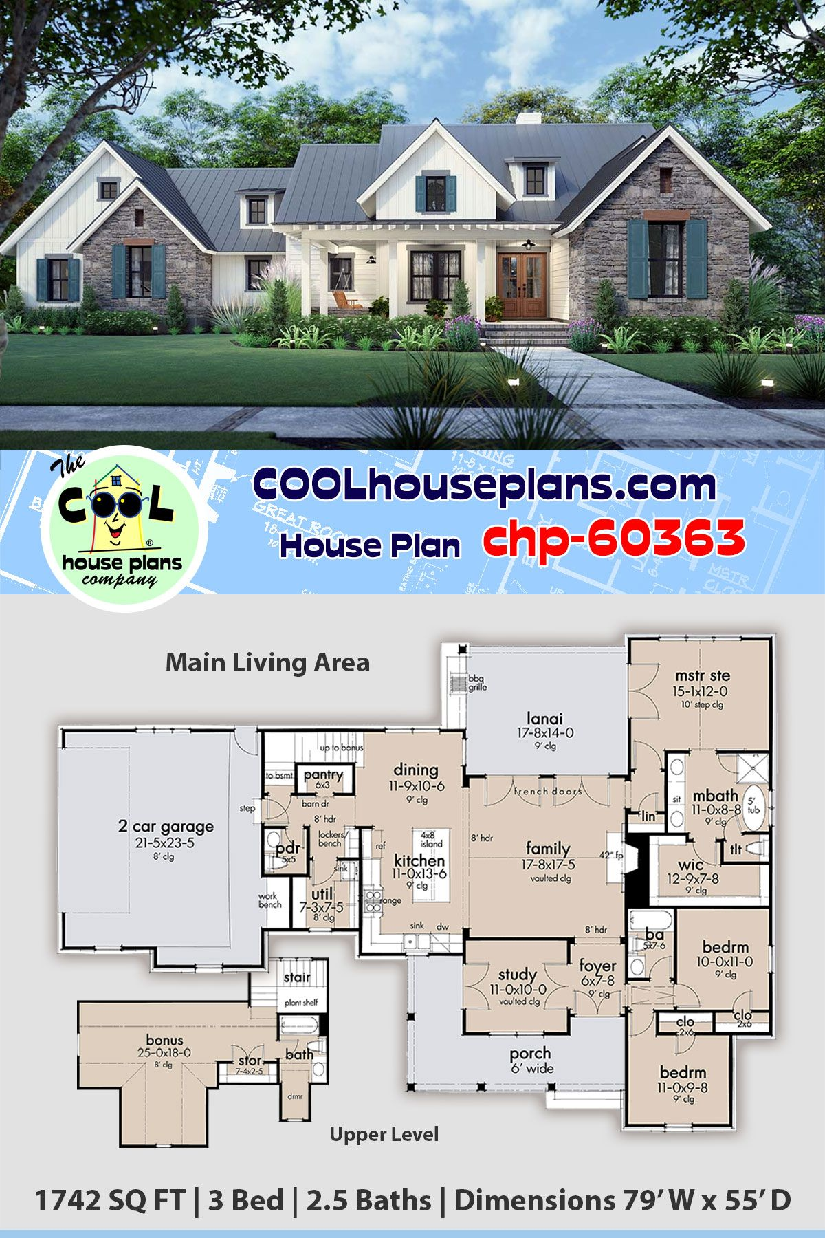 Modern Country Farmhouse Plan chp-60363 is 1742 Sq Ft, 3 Bedrooms, 2.5 Bathrooms and a 2 Bay Garage