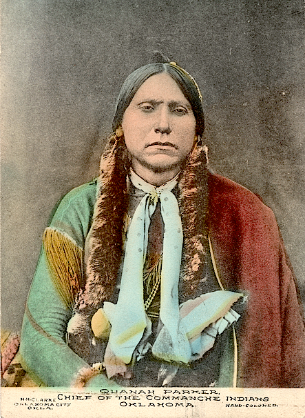 Comanche Chief Quanah Parker. 1895. Oklahoma. Hand-colored photo possibly by E.M. Roff