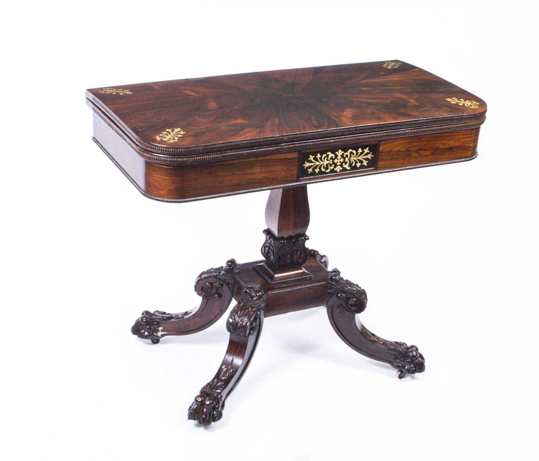 Antique regency mahogany tea table antique card tables uk antique - Antique Regency Rosewood Brass Inlaid Card Table C 1825