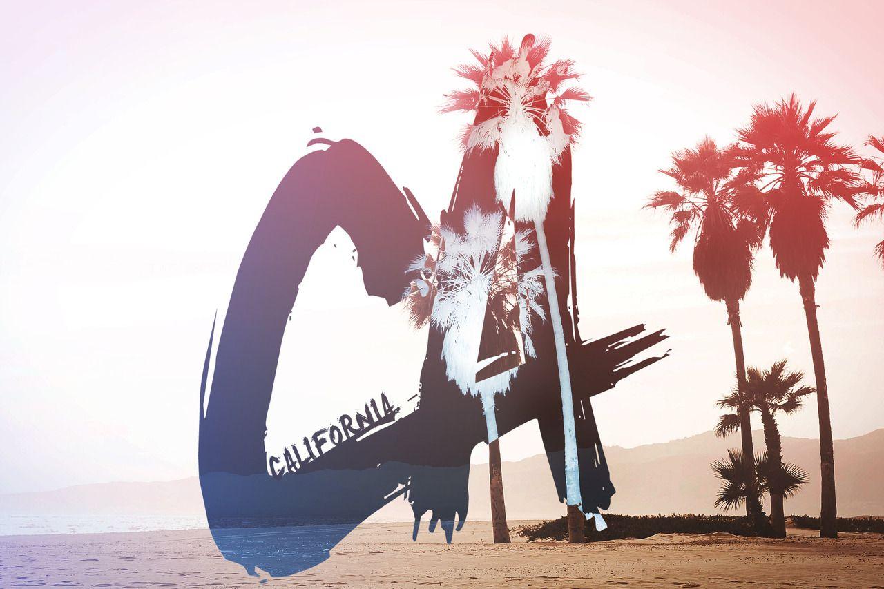 California palm trees beach sun trees sand california