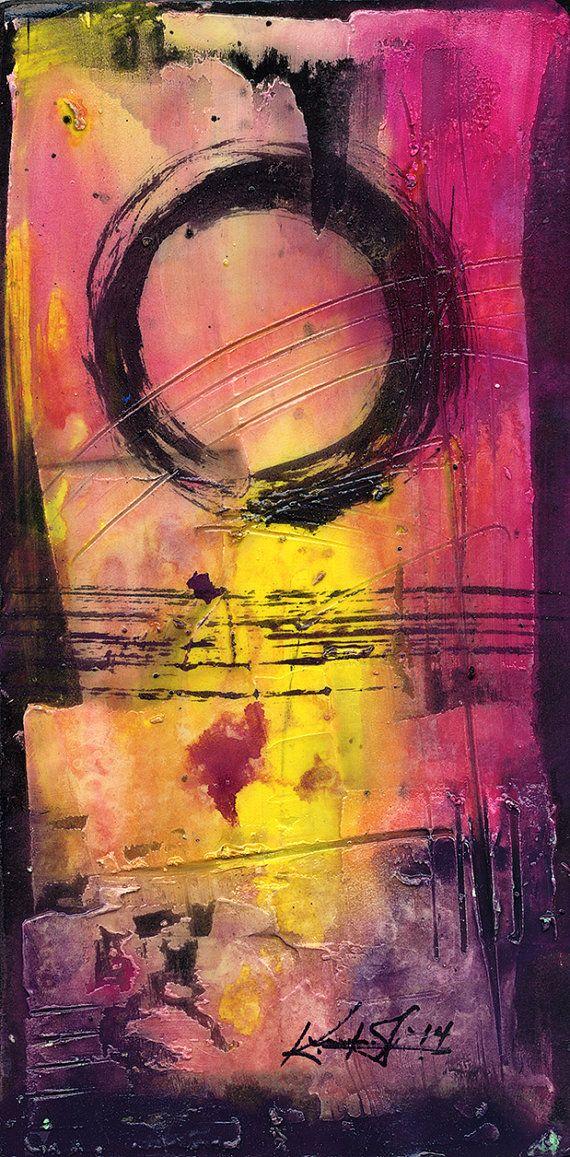 "Original Enso Zen Painting Throw Pillows: Enso Painting, Zen Circle Abstract Spiritual Art, ""Enso No"