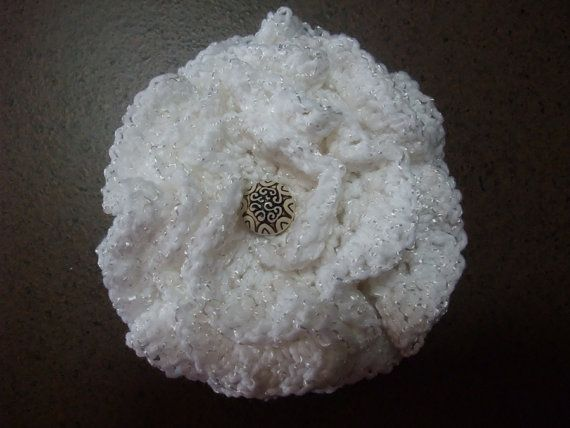Lacy LARGE White Crocheted Flower by BethsCreations on Etsy, $8.00