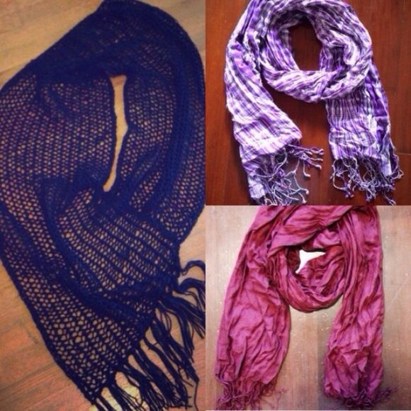 3 scarf bundle ⭐️⭐️⭐️ 1. Black knit infinity scarf has a small hole but is easily hidden when on. I bought it with the hole at a discount price and it never showed. 2. Purple urban outfitters scarf- great color, light weight, good for winter or spring. 3. Expensive scarf I never wore because it's from an ex. Beautiful cranberry color. Urban Outfitters Accessories Scarves & Wraps