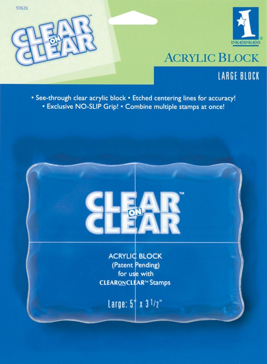 "Inkadinkado Clear On Clear Acrylic Block-Large 5""""X3.5"""""