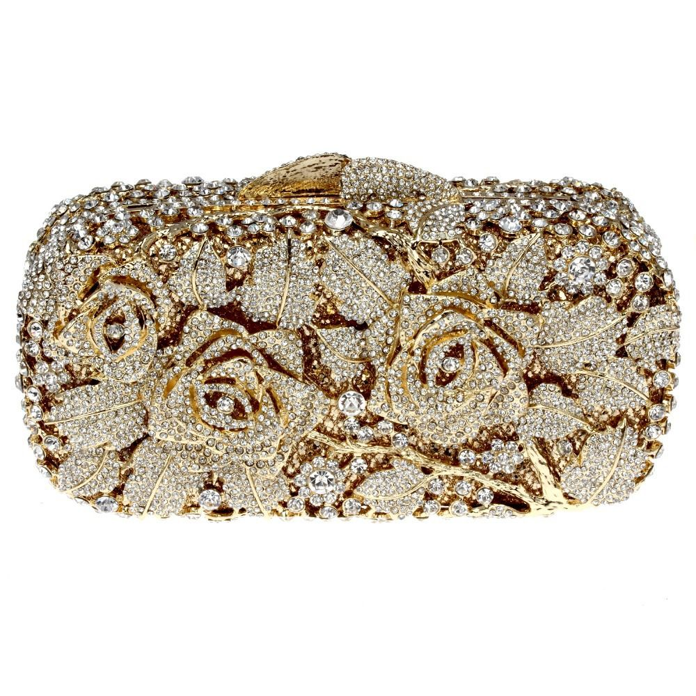 42010d394cc woman bags fashion new 2014 Evening Bag Golden Color Plated Clear White  Crystals…
