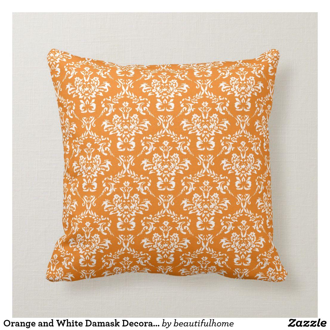 Bright Orange And White Damask Pattern Cotton Sofa Throw Pillow Zazzle Com Throw Pillows Sofa Throw Pillows Cotton Sofa Throws