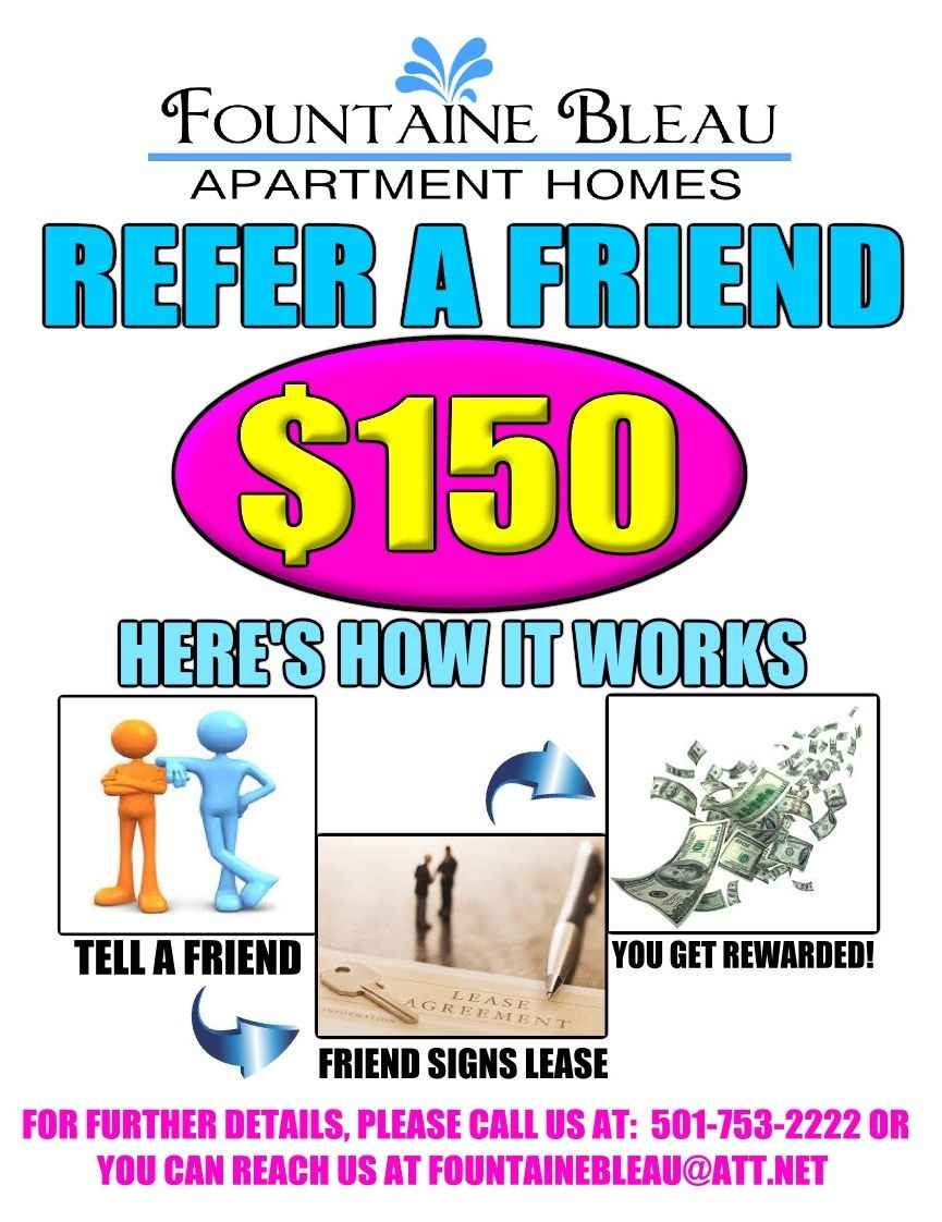 help i need some resident referral flyer ideas apartment a referral flyer i made for our current residents refer a friend to fountaine bleau