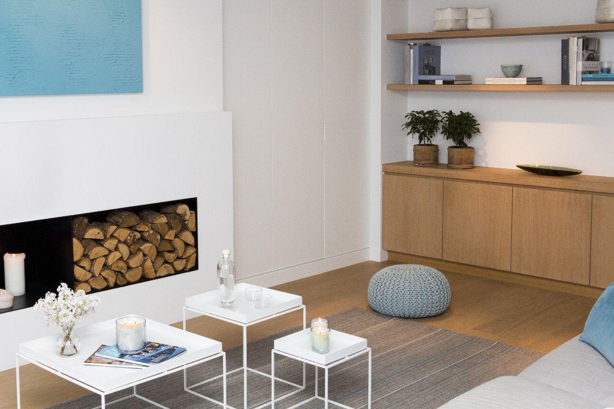 Houtblokken In Huis : Appartement met wit interieur in combinatie met hout ideeën voor