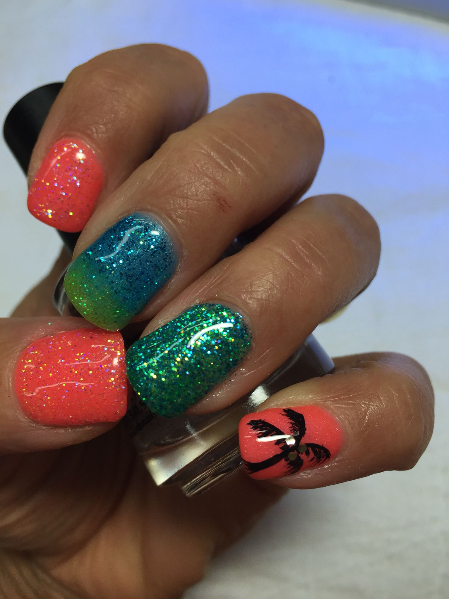 My vacation bright glittered summer colors and palm tree gel nails ...