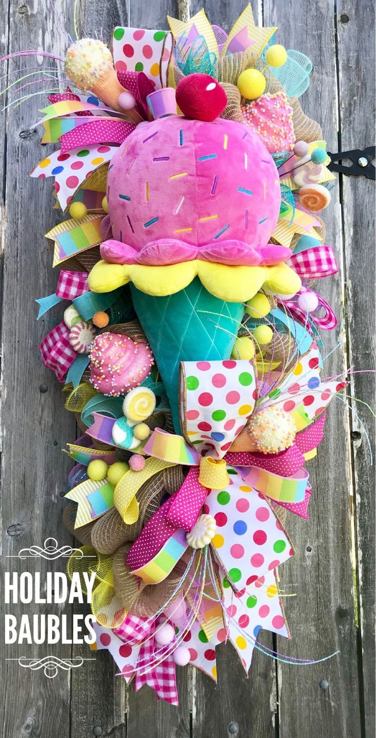 Sommerkranz, Eiskranz, Sommer Süßigkeiten Kranz, Süßigkeiten Kranz, Geburtstag Süßigkeiten Kranz, Geburtstag Kranz, Sommer Dekor   - Trendy Tree Custom Wreath Designer Creations -