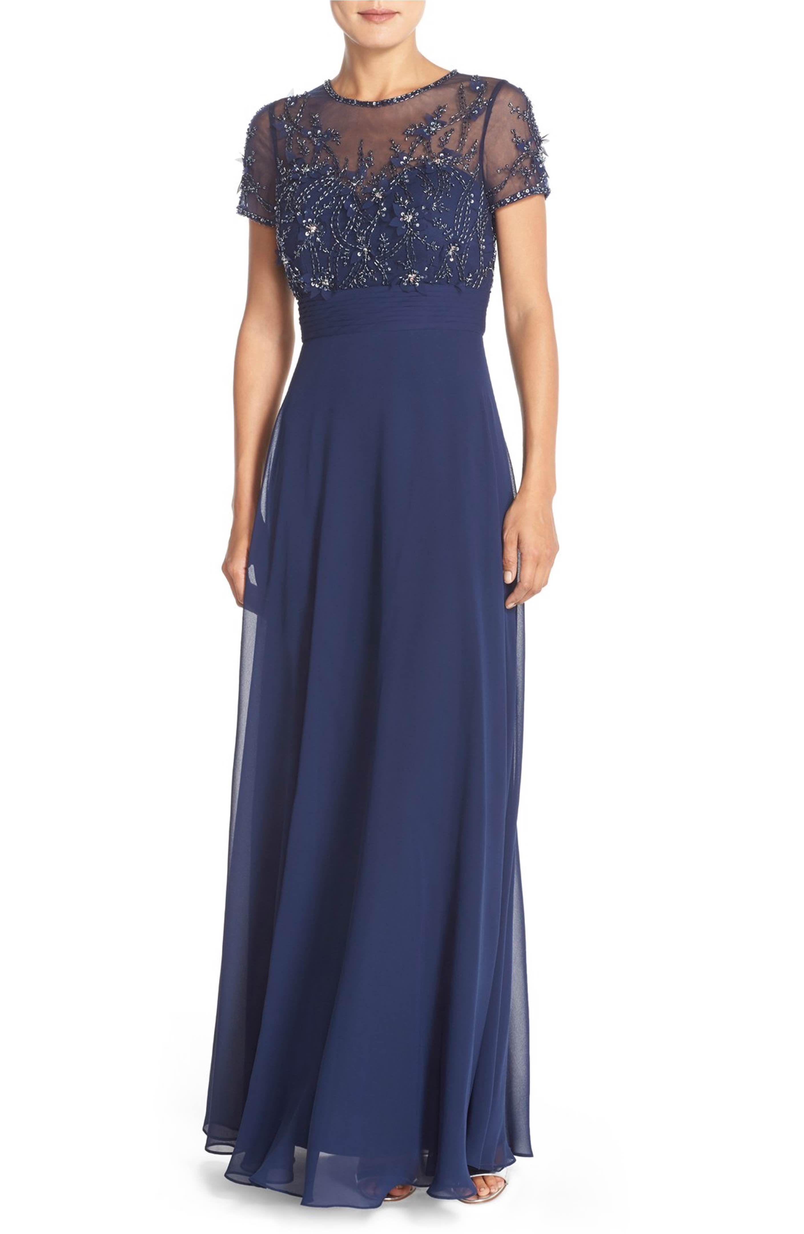 Main image js collections embellished mesh u chiffon gown mob