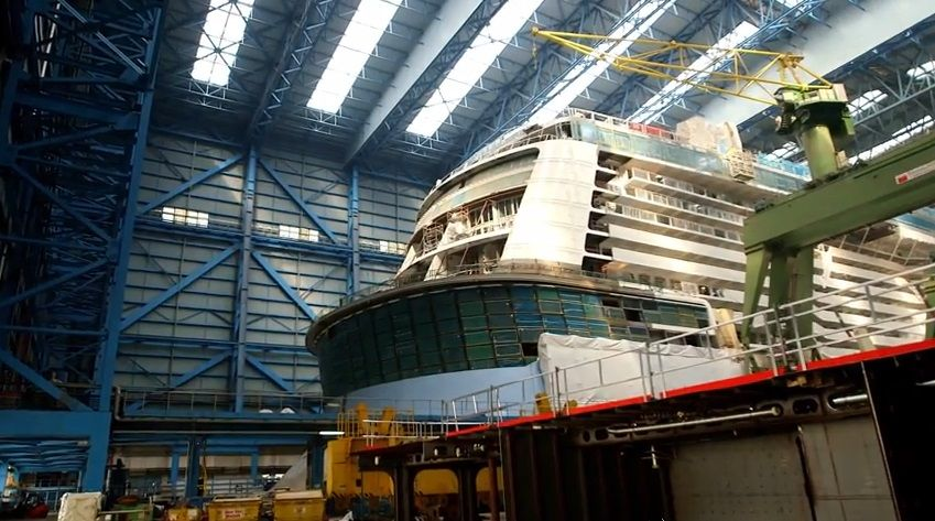 Screen grab from Royal Caribbean International's video 'Quantum of the Seas Construction Update: Royal Caribbean's Newest Ship Takes Shape'