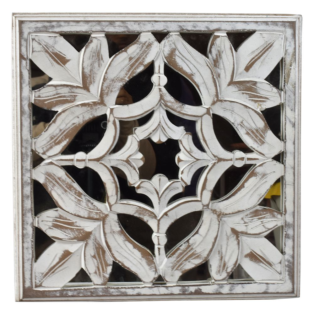 Indian Heritage Wooden Wall Panel 16 16 Carved Mdf Mirror In White Distress Finish Wooden Wall Panels Mirror Panel Wall Wall Paneling