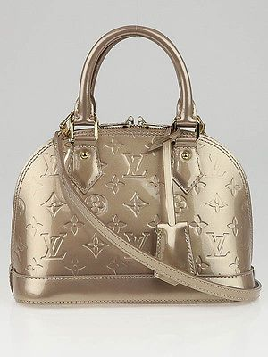 76bbe386d472 Louis Vuitton Beige Poudre Monogram Vernis Alma BB Bag