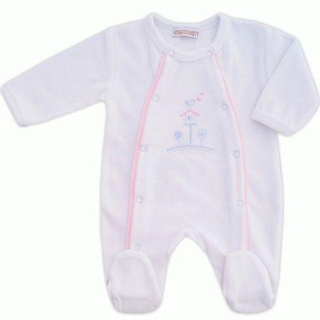 Pyjama naissance fille en velours blanc et rose Rêves   Babystock ... bf87ab7370d