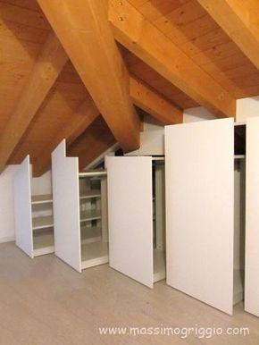 armadio su misura per camere in mansarda realizzato con ...