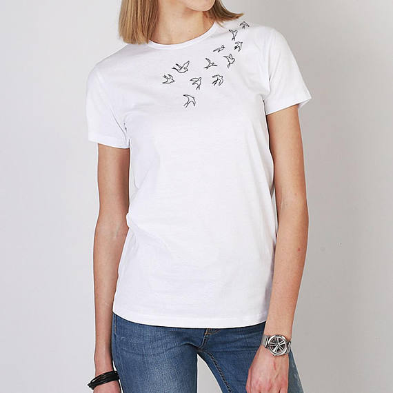 3d09586ff Hand embroidered birds t-shirt, embroidery tshirt, white women t shirt, women  tshirt, unique t-shirt