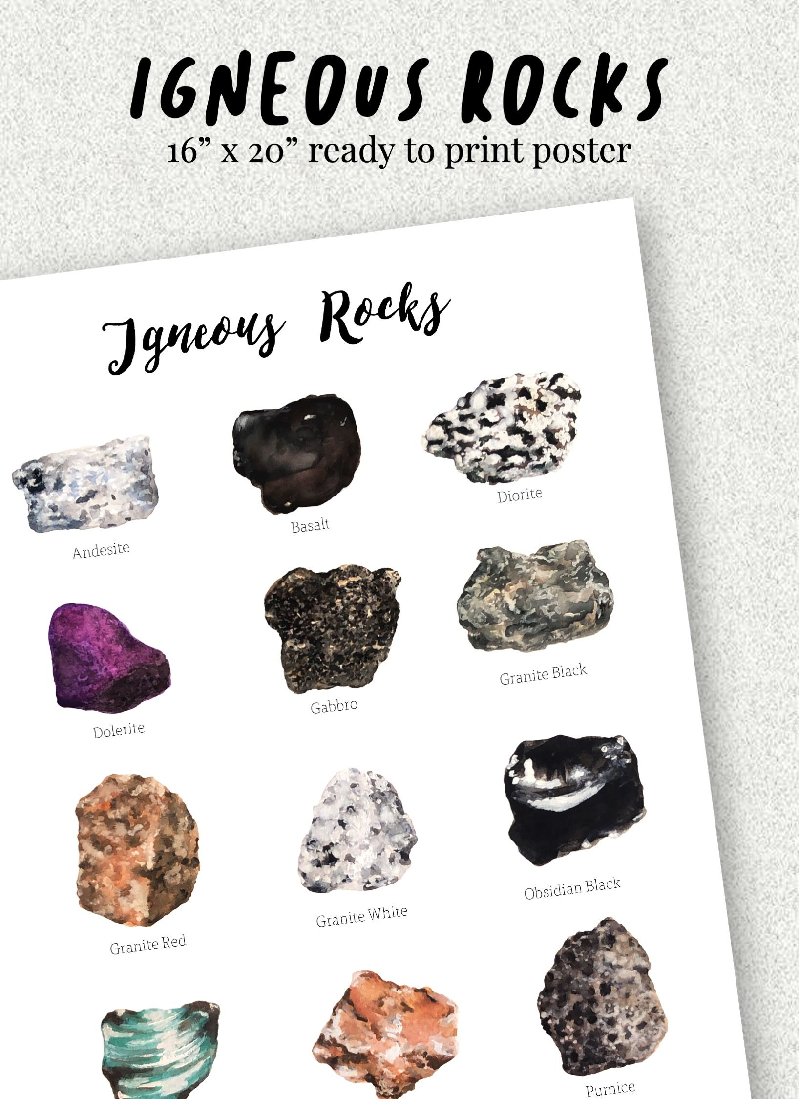 Watercolor Igneous Rocks Poster In 2020 Igneous Rock Igneous Rock Posters