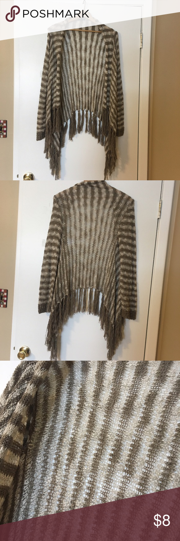 Soft Striped Sweater with Tassels