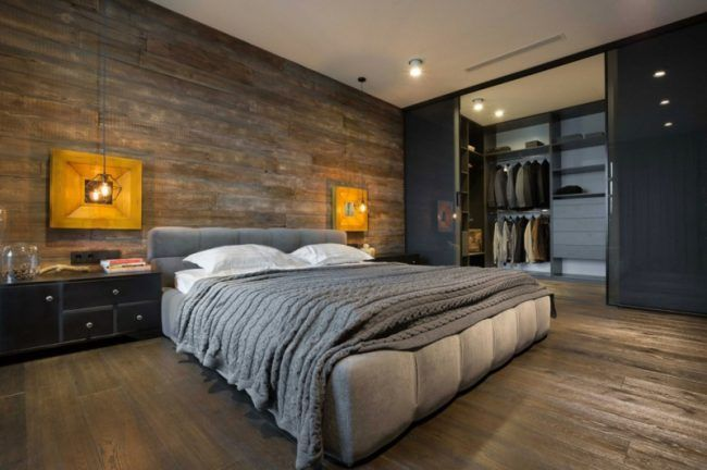Loft grauen moebeln bett elegant parkett kleiderschrank for Dekoration wohnung manner