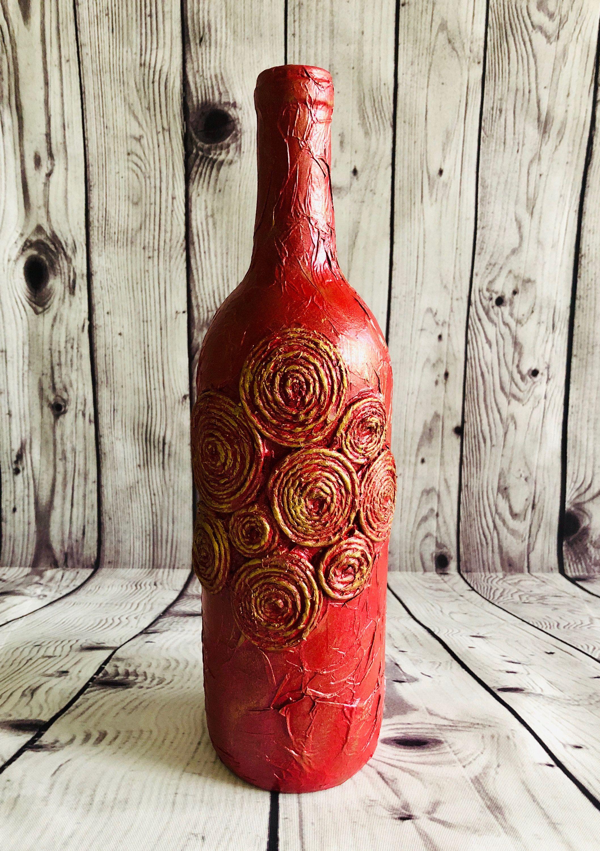 Decorated Bottle Wine Glass Bottle Decoupage Bottle Vintage Etsy In 2020 Wine Bottle Crafts Bottle Crafts Wine Bottle Art