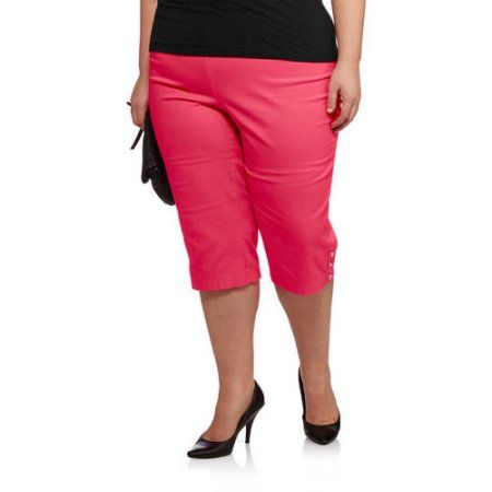 Just My Size Women's Plus-Size Pull-On 17in Stretch Capris with ...