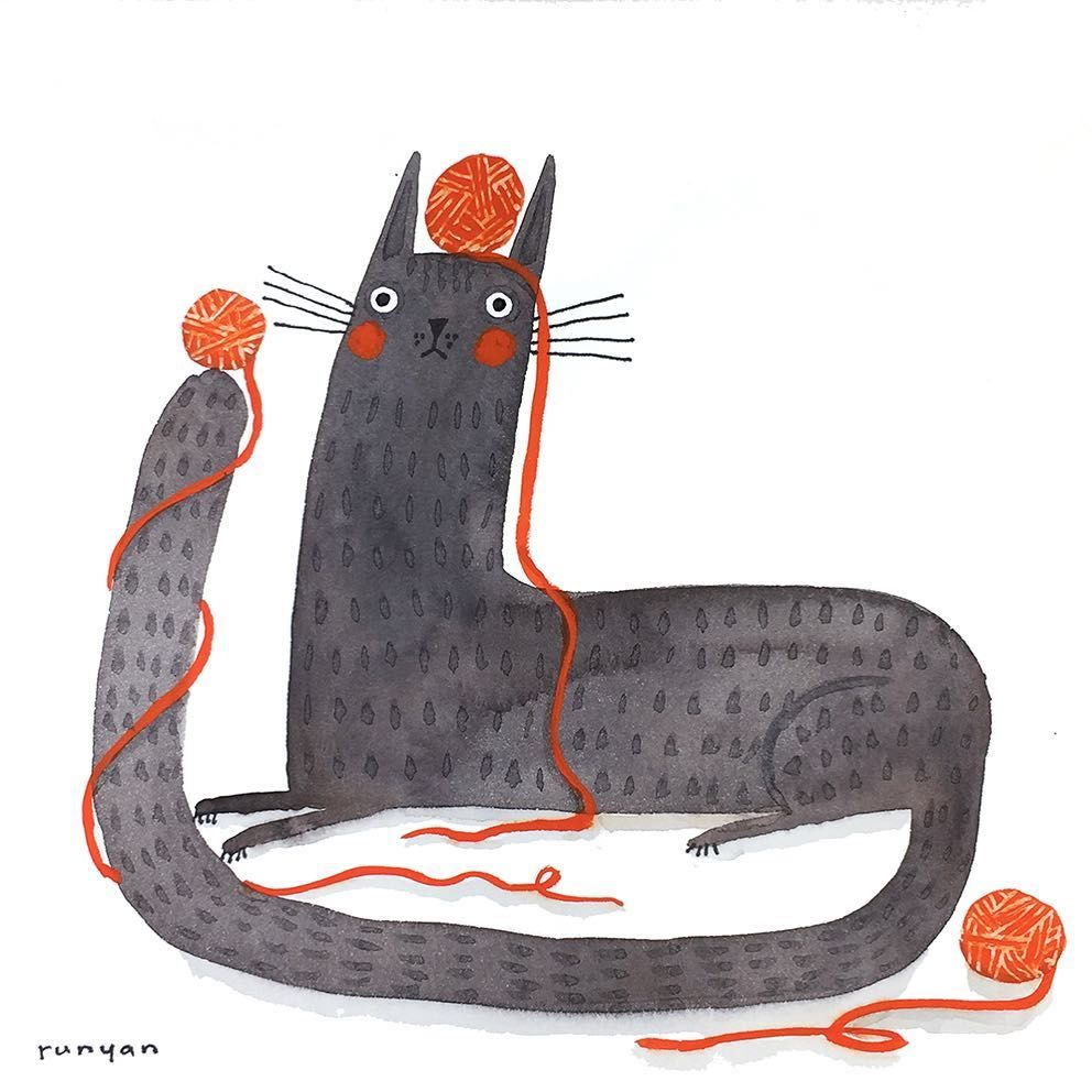 Day 107. Red Yarn Black Cat (sort of.) 😽 Daily Creating