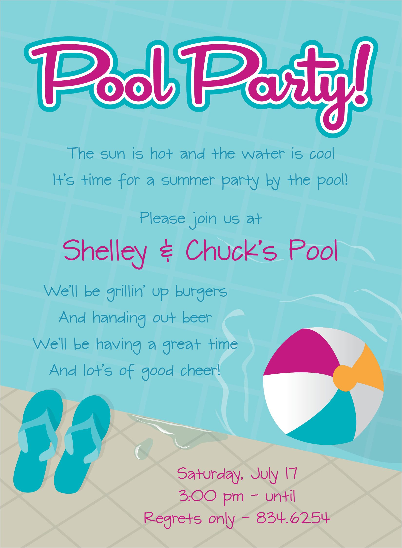 Pool Party Free Online Invitations  Swimming Pool Party