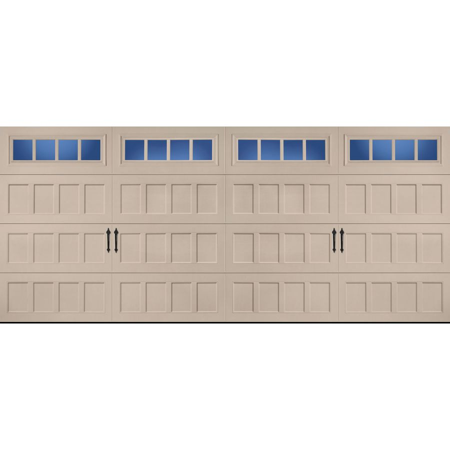 Pella Carriage House Series 192 In X 84 In Insulated Sandtone Double Garage Door With Windows Double Garage Door Carriage House Garage Doors Garage Door House