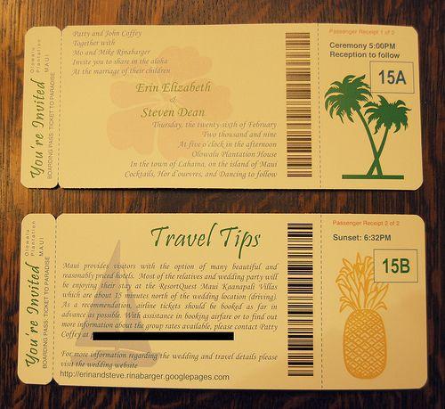 destination wedding invitations plane ticket - Google Search - plane ticket invitation template