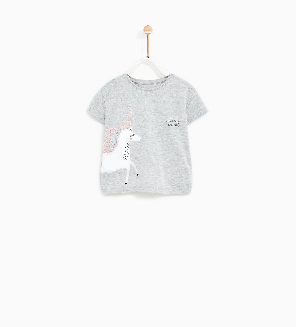 Camiseta Aplique Unicornio Winter Baby Clothes Baby Girl Tops Clothes