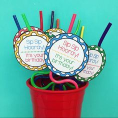 Sip Sip Hooray! Crazy Straw Birthday Labels #birthdaymonth