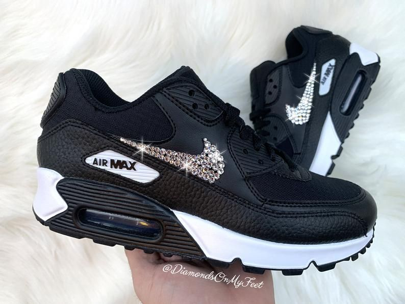 autumn shoes cheapest price uk store Swarovski Women's Nike Air Max 90 Black & White Sneakers Blinged ...