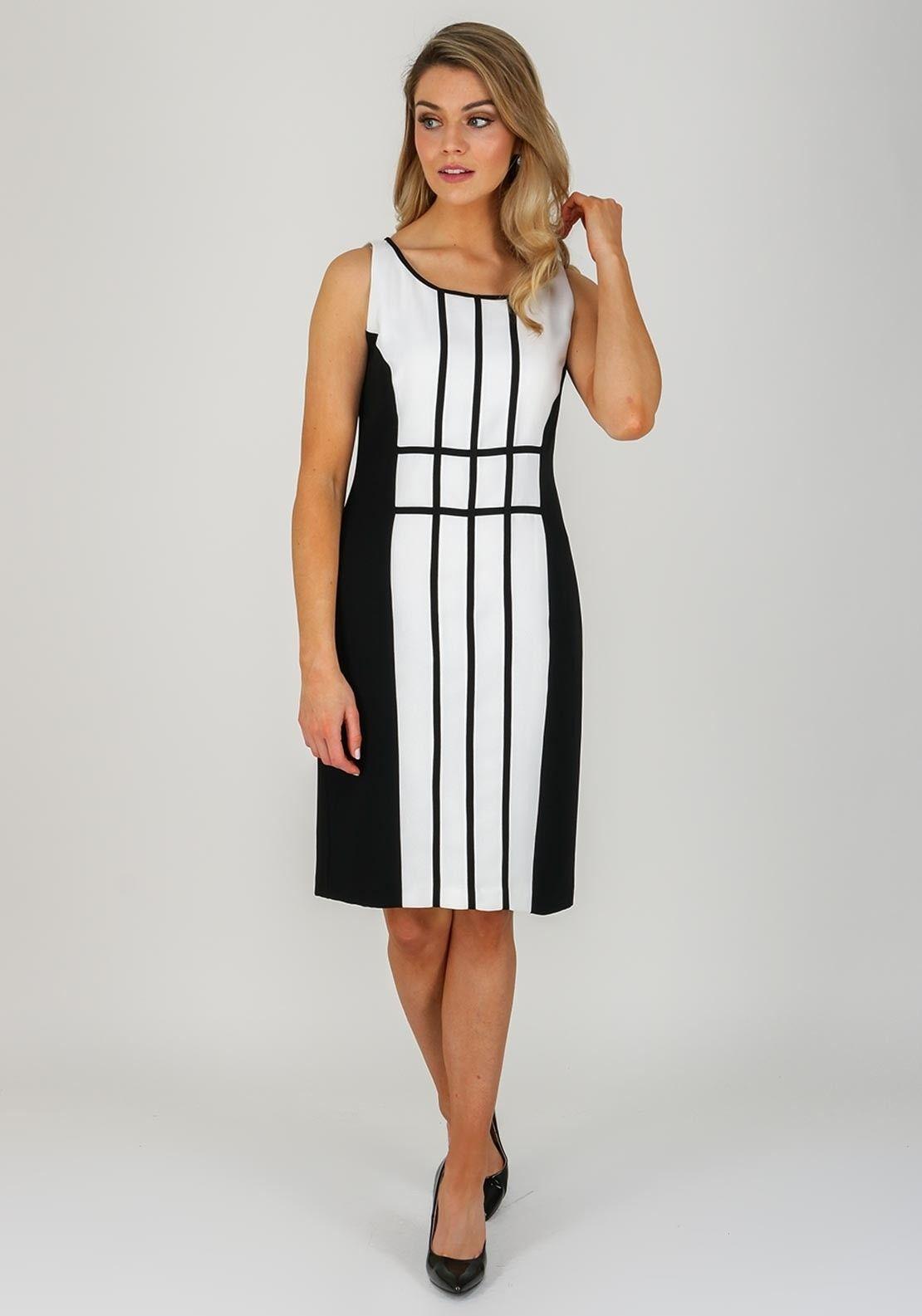 9f37964f7a941 Michaela Louisa Grid Print Dress, Black & White | Ladies Day ...
