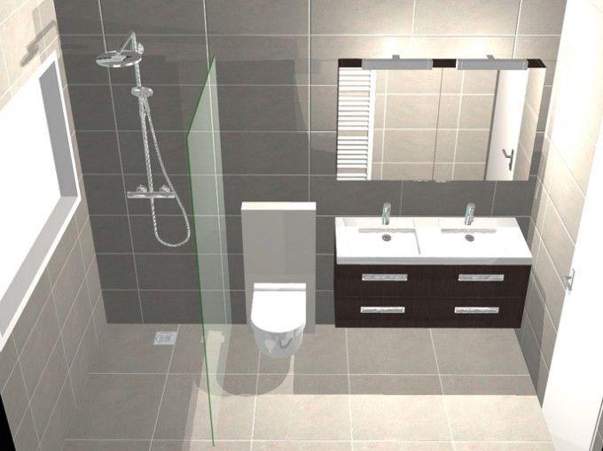 Functionele badkamer met inloopdouche 3d ontwerpen badkamers pinterest - Functionele badkamer ...