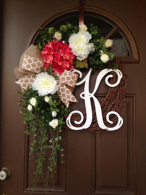 Spring Pink Hydrangea Wreath for Front Door  Grapevine by Flowenka