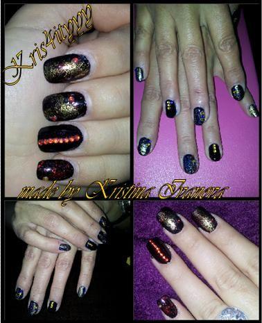 Gold Stones Nail Art  Nail Designs Made by Kristina Ivanova, Kris4ityyy