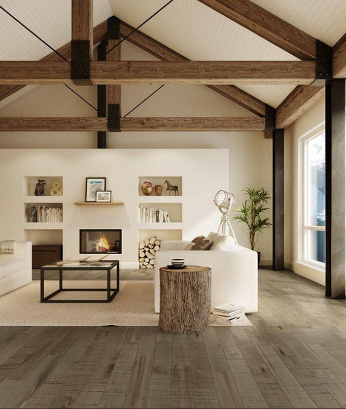 Exposed Beams Wood Floors Modern Farmhouse Living Room Decor
