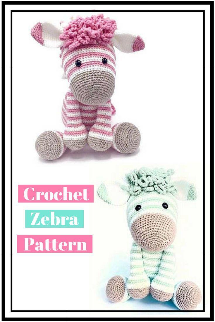 Love this super cute crochet zebra pattern! #afflink #crochet ...