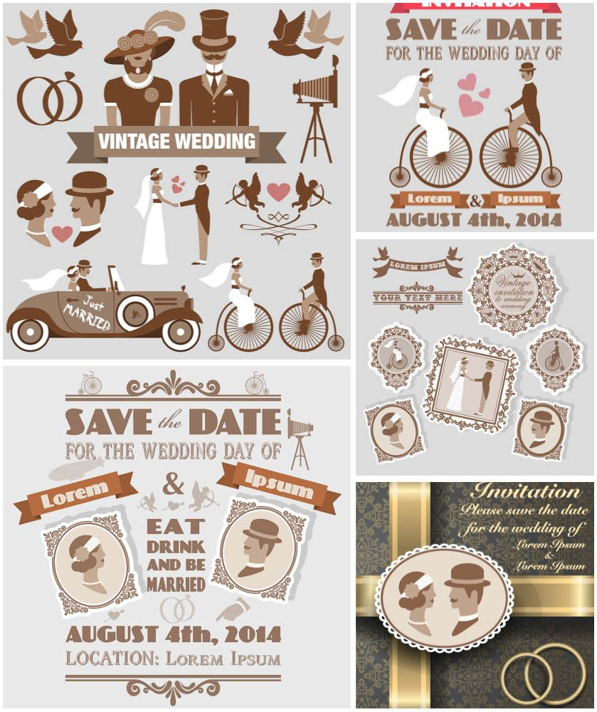 Vintage style wedding invitations vector free for download and ready ...