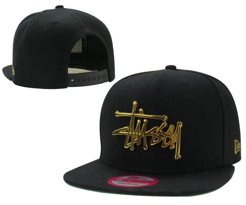 470c1e69b6b Men s Stussy X New Era Gold Metal Stussy Script Logo 9Fifty Snapback Hat -  Black
