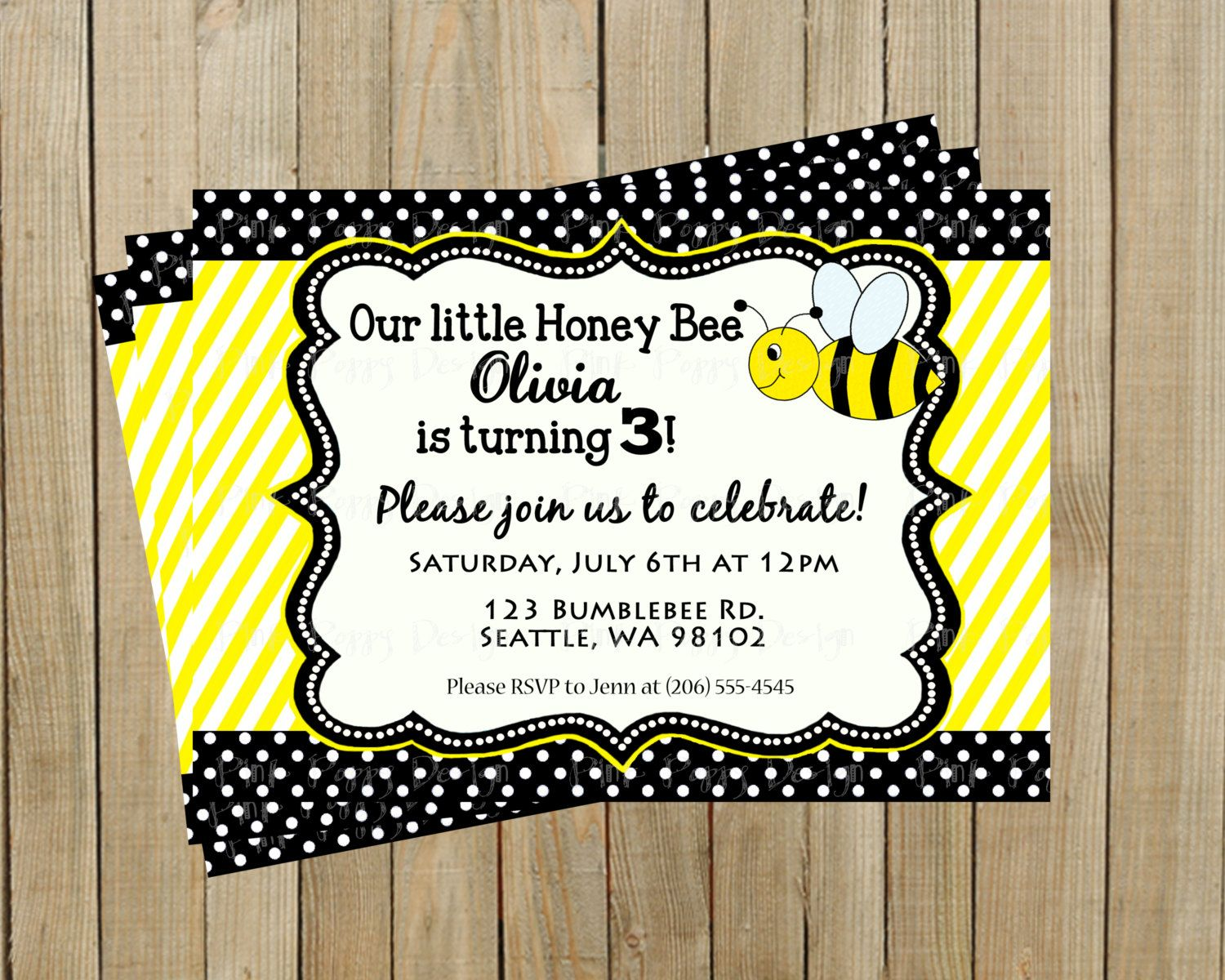Adorable Yellow and Black Honey Bee Birthday Invitation, Boy or Girl ...