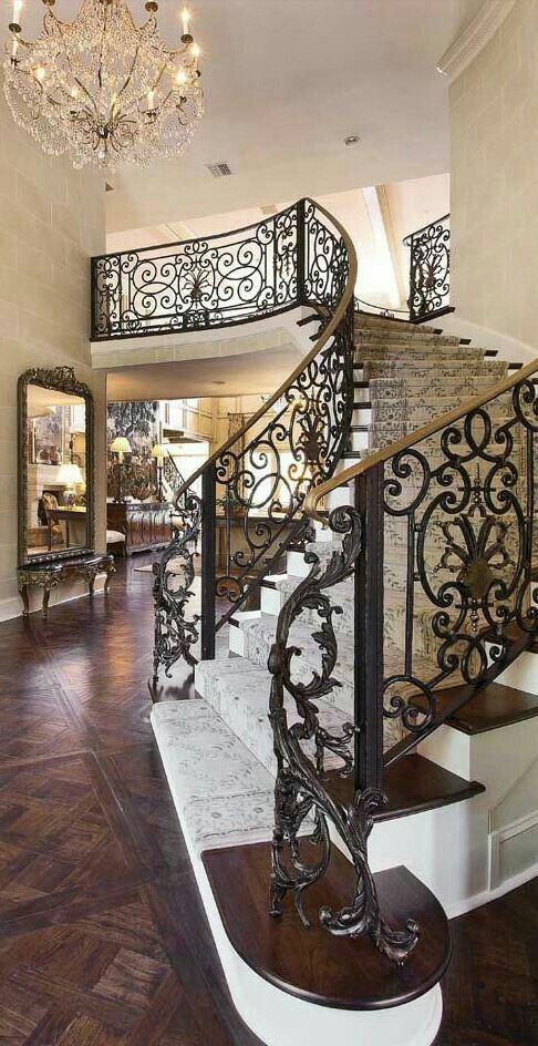 custom iron work for sweeping staircase old world mediterranean rh pinterest com