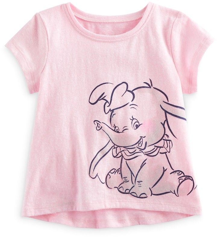 b0ac1a153cd6 Disney s Dumbo Baby Girl Glitter Short Sleeve Graphic Tee by Jumping ...