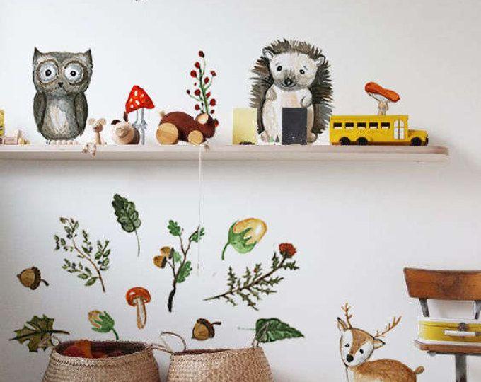 Waldtiere wand aufkleber wald wandtattoo wiederverwendbare wanddekor für kinder abnehmbare kindergarten aquarell wandtattoo