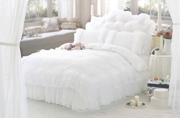 Fancy Pure White Lace Princess Satin 100 Cotton Bedding Set For Queen Full Size Comforter Girls Lady Doona Cover Coverlets Set Gift From Gardenhome 162 15 Ruffle Bedding Sets Bedding Sets White Bed Set White full size duvet cover