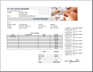 Dentist Receipt Template At Httpwwwreceiptstemplatescom - Dental invoice template free for service business