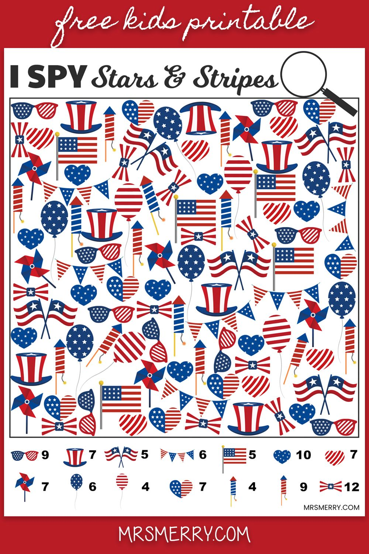 I Spy Stars Stripes Free Printable For Kids Memorial Day Activity Mrs Merr Memorial Day Activities Fourth Of July Crafts For Kids Printables Free Kids [ 1500 x 1000 Pixel ]