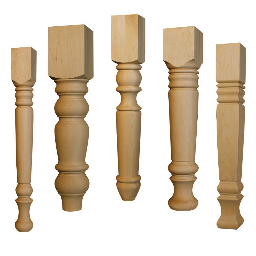 """Unfinished wood  legs 29 1//4 /""""L-See Pic for carving design Set of 4"""